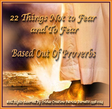 22 Things Not to Fear and To Fear Based Out Of Proverbs