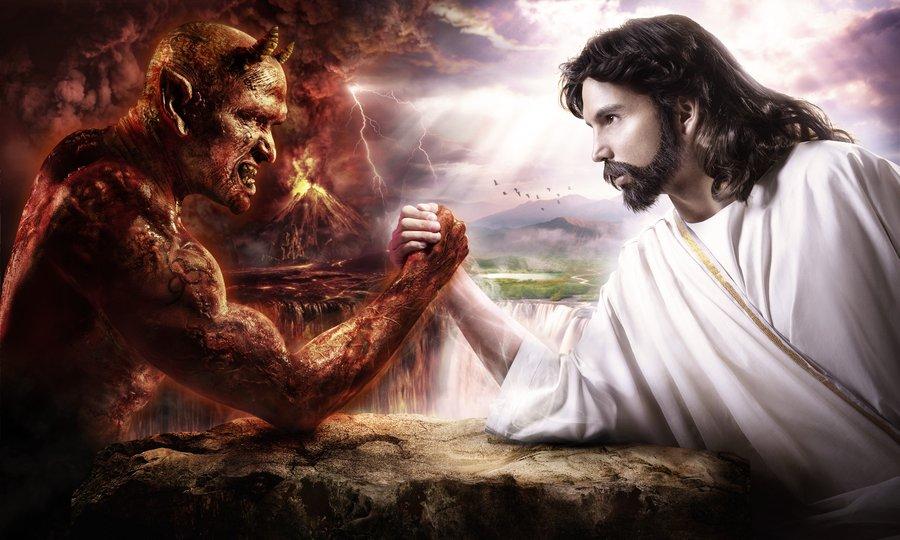 Jesus Arm Wrestling with The Devil