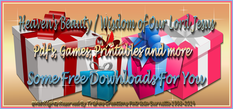 These are Pdf's, Games, Printables and more. I will be adding more as the Lord reigns, but I will do my very best to make sure you have many things to enjoy and to help you along your way in your walk with Jesus Christ!