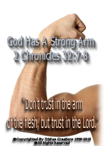 """""""Don't trust in the arm of the flesh, but trust in the Lord."""" 2 Chronicles 32:7-8"""