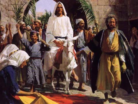 Jesus on Donkey On Palm Sunday